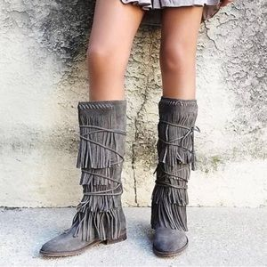 Free people fringe boots tall gorgeous!!!! Size 8